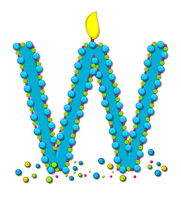 The letter W, in the alphabet set Birthday Cake Candle, is aqua and outlined in fun colored sprinkles.  Flame burns from top of letter.  More sprinkles surround base of letter.