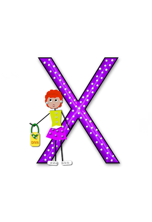 diva: The letter X, in the alphabet set Diva Doll, is polka dotted.  Girl dolls decorate letter dressed in skirt and carrying a purse and flower.