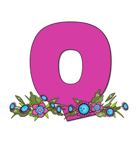 The letter Q, in the alphabet set Country Lane Two is pink with black outline.  Letter sits on arrangement of country flowers in pink and blue. Stock Photo