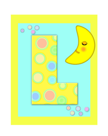 The letter L, in the alphabet set Sweet Dreams  is  a soft yellow and and decorated with polka dots and sleepy moon.  Yellow and aqua squares serve as background.