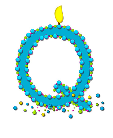 The letter Q, in the alphabet set Birthday Cake Candle, is aqua and outlined in fun colored sprinkles.  Flame burns from top of letter.  More sprinkles surround base of letter.
