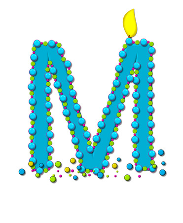 wick: The letter M, in the alphabet set Birthday Cake Candle, is aqua and outlined in fun colored sprinkles.  Flame burns from top of letter.  More sprinkles surround base of letter.