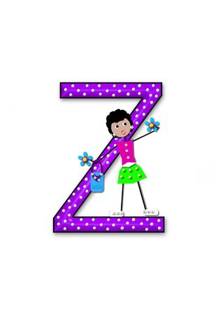 The letter Z, in the alphabet set Diva Doll, is polka dotted.  Girl dolls decorate letter dressed in skirt and carrying a purse and flower.