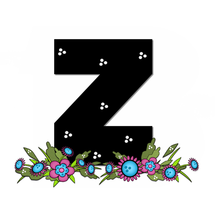 The letter Z, in the alphabet set Country Lane Two is pink with black outline.  Letter sits on arrangement of country flowers in pink and blue.