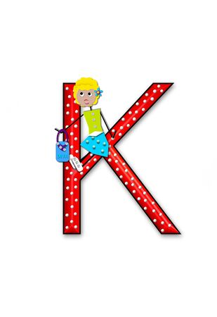 The letter K, in the alphabet set Diva Doll, is polka dotted.  Girl dolls decorate letter dressed in skirt and carrying a purse and flower.