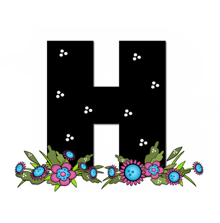 The letter H, in the alphabet set Country Lane Two is pink with black outline.  Letter sits on arrangement of country flowers in pink and blue.