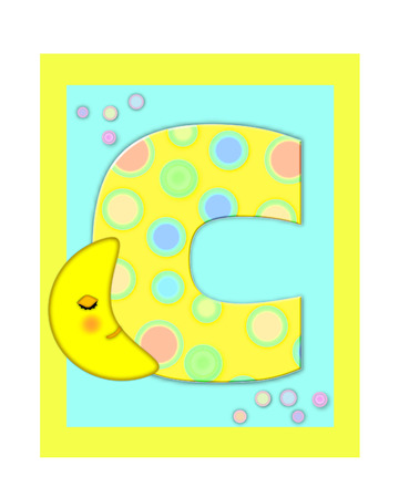 The letter C, in the alphabet set Sweet Dreams  is  a soft yellow and and decorated with polka dots and sleepy moon.  Yellow and aqua squares serve as background.