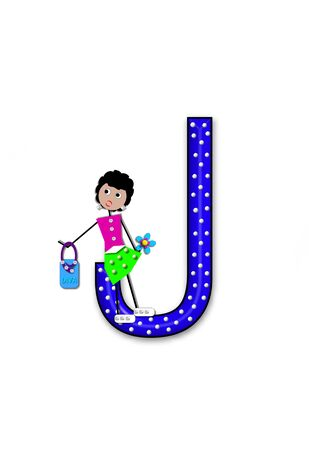 The letter J, in the alphabet set Diva Doll, is polka dotted.  Girl dolls decorate letter dressed in skirt and carrying a purse and flower.