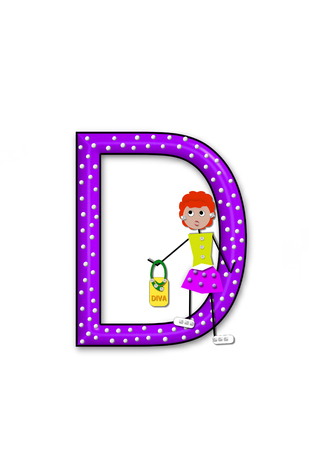 diva: The letter D, in the alphabet set Diva Doll, is polka dotted.  Girl dolls decorate letter dressed in skirt and carrying a purse and flower.