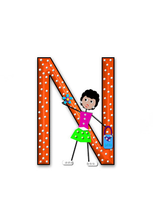 The letter N, in the alphabet set Diva Doll, is polka dotted.  Girl dolls decorate letter dressed in skirt and carrying a purse and flower. Stock Photo
