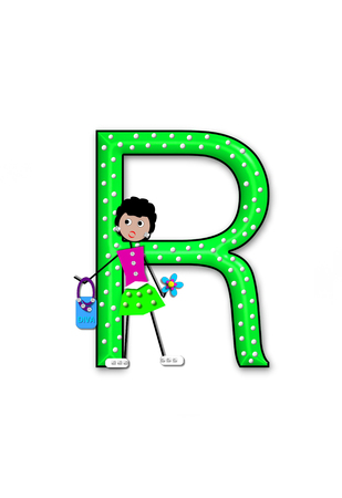 The letter R, in the alphabet set Diva Doll, is polka dotted.  Girl dolls decorate letter dressed in skirt and carrying a purse and flower.