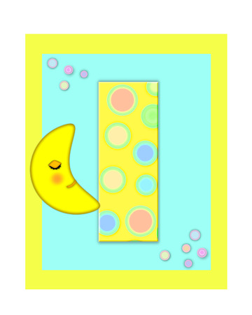 The letter I, in the alphabet set Sweet Dreams  is  a soft yellow and and decorated with polka dots and sleepy moon.  Yellow and aqua squares serve as background.