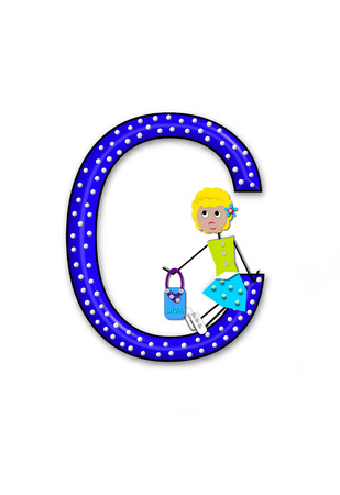 The letter C, in the alphabet set Diva Doll, is polka dotted.  Girl dolls decorate letter dressed in skirt and carrying a purse and flower.