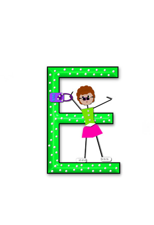 diva: The letter E, in the alphabet set Diva Doll, is polka dotted.  Girl dolls decorate letter dressed in skirt and carrying a purse and flower. Stock Photo