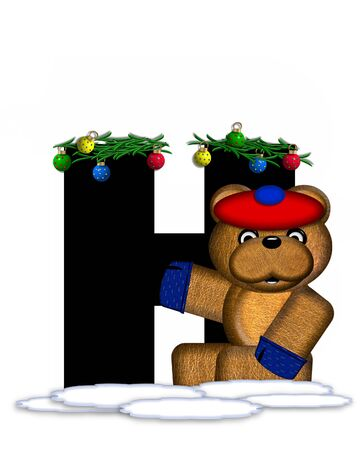 boughs: The letter H, in the alphabet set Teddy Christmas Boughs, is black and sits on pile of snow.  Teddy Bear wearing cap and mittens, decorates letter with Christmas boughs and ornaments.