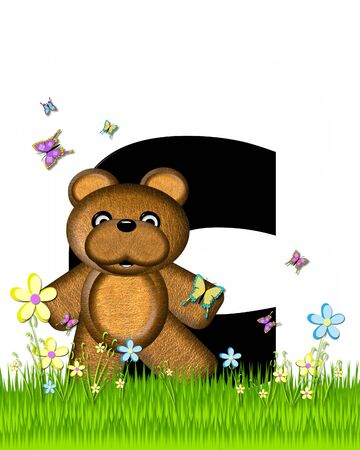 grassy field: The letter C, in the alphabet set Teddy Butterfly Field, is black.  Teddy bear chases colorful butterflies across a grassy field with wildflowers.