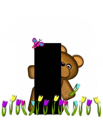picking: The letter I, in the alphabet set Teddy Picking Flowers, is black.  Teddy bear picks tulips and butterfly flutters overhead. Stock Photo