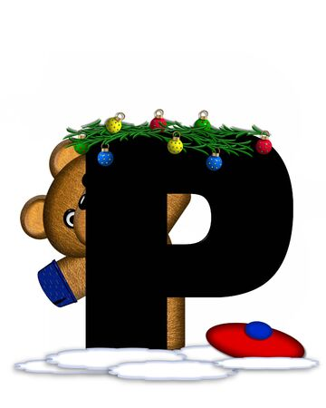 boughs: The letter P, in the alphabet set Teddy Christmas Boughs, is black and sits on pile of snow.  Teddy Bear wearing cap and mittens, decorates letter with Christmas boughs and ornaments.