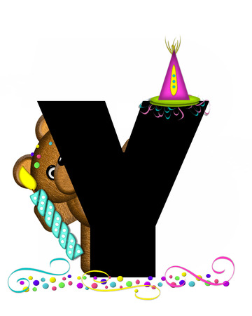 streamers: The letter Y, in the alphabet set Teddy Party Time, is black.  Teddy bear, party hat, candle and confetti decorate letter.