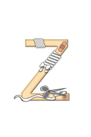 Alphabet letter Z, in the set Boo Boo, is tan to represent the color of skin.  Each letter is bandaged and has bandaids applied.  Strips of guaze and scissors also decorate letters.
