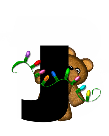 teddy bear christmas: The letter J, in the alphabet set Teddy Christmas Lights, is black. Teddy Bear holds a string of Christmas lights and decorates letter. Stock Photo