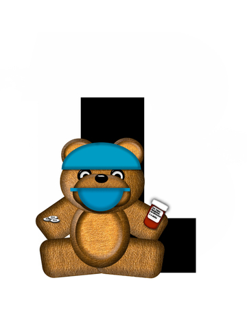 The letter L, in the alphabet set Teddy Dental Checkup, is black.  Teddy bear wearing a dental mask and hat represents dentist holding various dental tools.