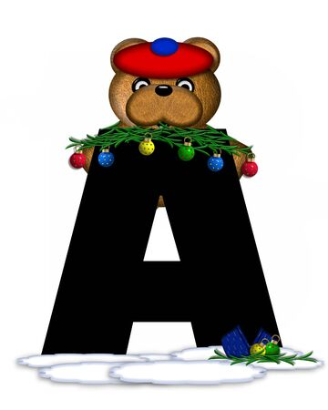 The letter A, in the alphabet set Teddy Christmas Boughs, is black and sits on pile of snow.  Teddy Bear wearing cap and mittens, decorates letter with Christmas boughs and ornaments.