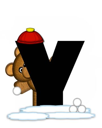 snow cap: The letter Y, in the alphabet set Teddy Wintertime, is black. Teddy stands on snow making and throwing snowballs.  He is wearing a red cap.