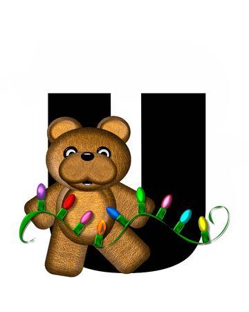 string of christmas lights: The letter U, in the alphabet set Teddy Christmas Lights, is black. Teddy Bear holds a string of Christmas lights and decorates letter.