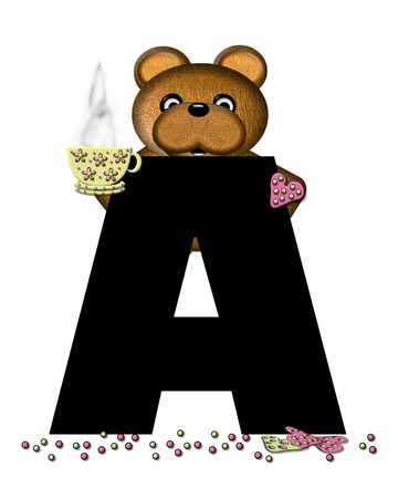 frosted: The letter A, in the alphabet set Teddy Tea Time, is black.  Teddy bear enjoys a cup of hot tea with heart shaped and frosted cookies.  Candy sprinkles cover floor.