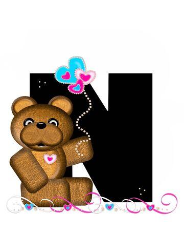 """알파벳 """"Teddy Valentine 's Cutie""""의 문자 N은 검은 색입니다. 갈색 곰 심장 모양의 풍선 핑크와 블루에 보유하고있다. 진주의 끈은 끈으로 봉사한"""