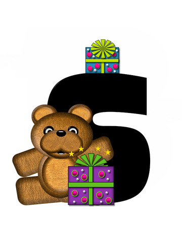 gift wrapped: The letter S, in the alphabet set Teddy Gifts Galore, is black.  Teddy bear, gift wrapped packages and stars decorate letter.