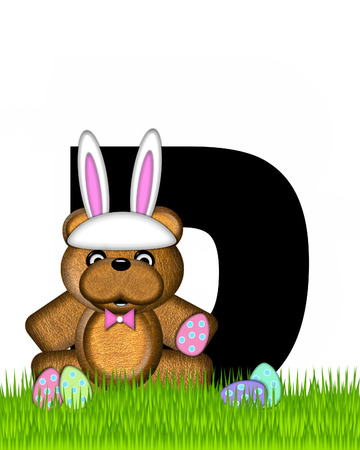 wears: The letter D, in the alphabet set Teddy Easter, is black. Teddy wears an Easter Rabbit costume and hunts Easter Eggs hidden in the grass.