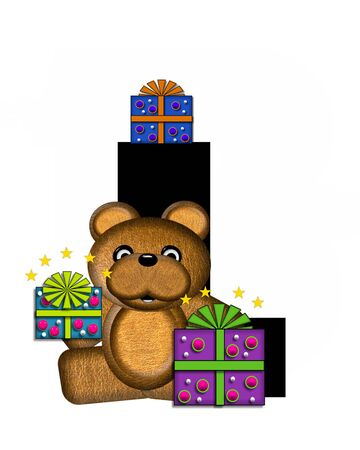 gift wrapped: The letter L, in the alphabet set Teddy Gifts Galore, is black.  Teddy bear, gift wrapped packages and stars decorate letter.