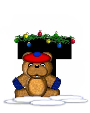 boughs: The letter T, in the alphabet set Teddy Christmas Boughs, is black and sits on pile of snow.  Teddy Bear wearing cap and mittens, decorates letter with Christmas boughs and ornaments. Stock Photo