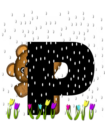 april showers: The letter P, in the alphabet set Teddy April Showers, is black.  Brown teddy bear and flowers decorate letter.  Tulips bloom as April showers fall.