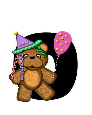 The letter O, in the alphabet set Teddy Birthday, is black.  Teddy bear, party hat, and balloons decorate letter.
