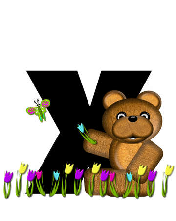 picking: The letter X, in the alphabet set Teddy Picking Flowers, is black.  Teddy bear picks tulips and butterfly flutters overhead.