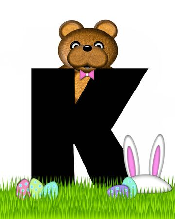 The letter K, in the alphabet set Teddy Easter, is black. Teddy wears an Easter Rabbit costume and hunts Easter Eggs hidden in the grass.