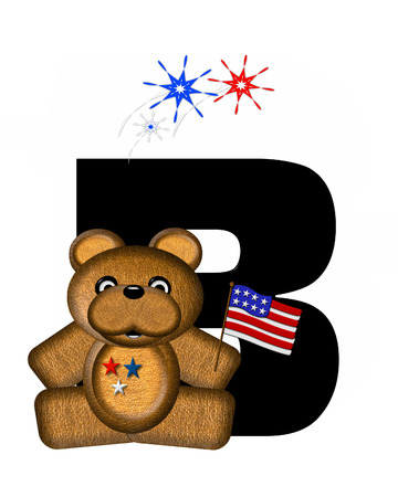 The letter B, in the alphabet set Teddy 4th of July, is black.  Brown teddy bear holds American flag.  Fireworks in red, white and blue explode around him.