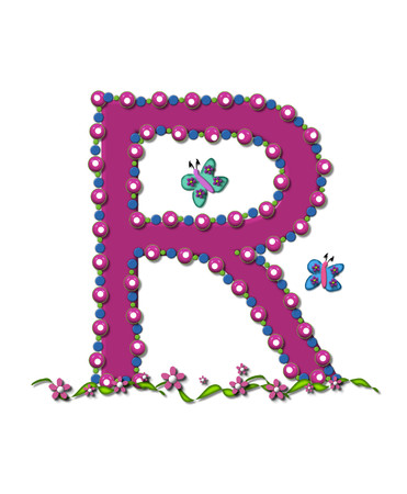 bead: Letter R from Bead Alphabet is deep rose in color.  Letter is outlined completly in pink, blue and green beads and balls.