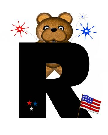 independance day: The letter R, in the alphabet set Teddy 4th of July, is black.  Brown teddy bear holds American flag.  Fireworks in red, white and blue explode around him.