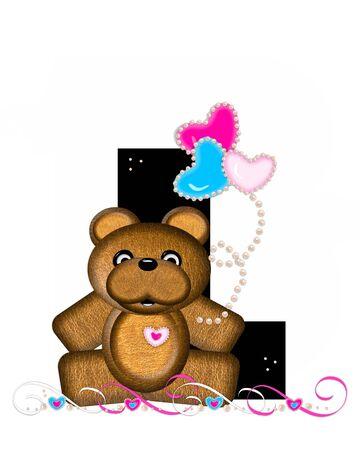 """알파벳 """"Teddy Valentine 's Cutie""""의 문자 L은 검은 색입니다. 갈색 곰 심장 모양의 풍선 핑크와 블루에 보유하고있다. 진주의 끈은 끈으로 봉사한"""