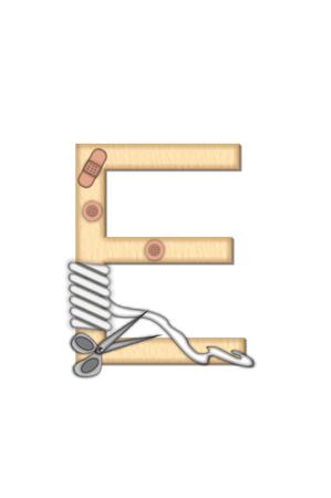 bandaged: Alphabet letter E, in the set Boo Boo, is tan to represent the color of skin.  Each letter is bandaged and has bandage applied.