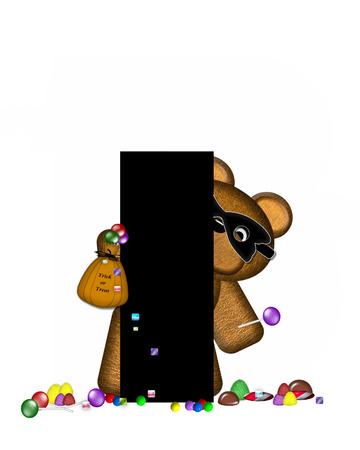 The letter I, in the alphabet set Teddy Halloween Treats, is black and is decorated with cute brown teddy bear.  Bear is masked and holding a bag of Halloween candy.  Candy has spilled from his bag and covers the ground by his feet. Stock Photo