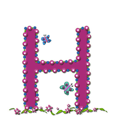 bead: Letter H from Bead Alphabet is deep rose in color.  Letter is outlined completly in pink, blue and green beads and balls.
