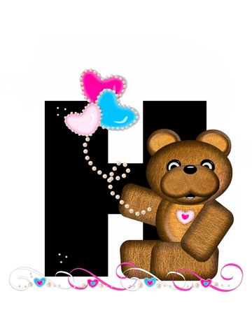 cutie: The letter H, in the alphabet set Teddy Valentines Cutie, is black.  Brown teddy bear holds heart shaped balloons in pink and blue.  String of pearls serve as string. Stock Photo