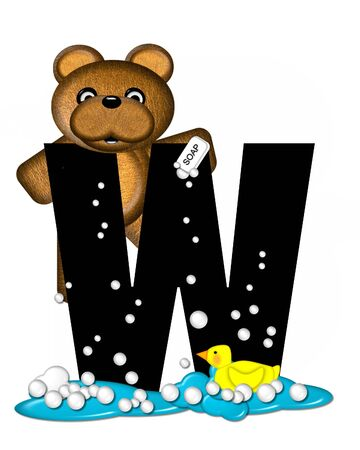 bathtime: The letter W, in the alphabet set Teddy Bath Time, is black and sits on a pool of spilled bath water.  Brown teddy bear, bubbles and yellow duck decorate letter.