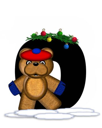 teddy bear christmas: The letter O, in the alphabet set Teddy Christmas Boughs, is black and sits on pile of snow.  Teddy Bear wearing cap and mittens, decorates letter with Christmas boughs and ornaments.
