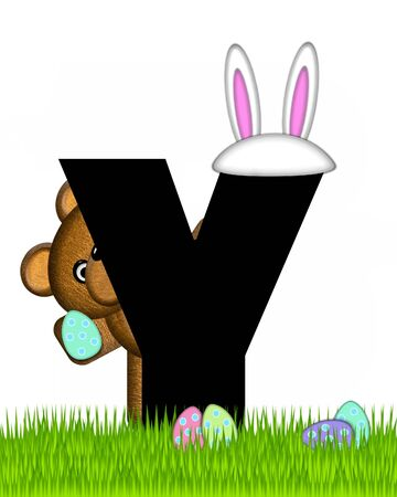 wears: The letter Y, in the alphabet set Teddy Easter, is black. Teddy wears an Easter Rabbit costume and hunts Easter Eggs hidden in the grass. Stock Photo